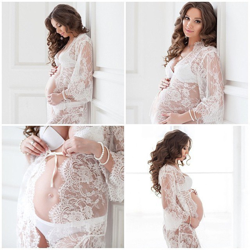 все цены на Le Couple White Lace Maternity Dress Eyelashes Lace Pregnancy Dress Maternity Potography Props Maternity Nightdress Sleepwear