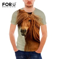 FORUDESIGNS Wholesale 3D Lego Horse Tee Shirt For Men Summer Style Short Sleeve Male Comfort T