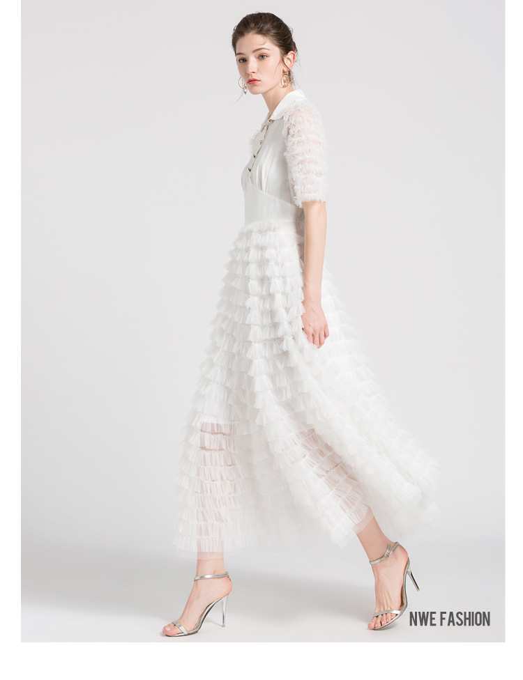 Gâteau Patchwork Maille À Usure Courtes blanc Robes Slim 2018 Peter Flare Long Haute Parti Manches Pan Mode Lady Col Noir Robe Taille Sipaiya XwZYax6qX