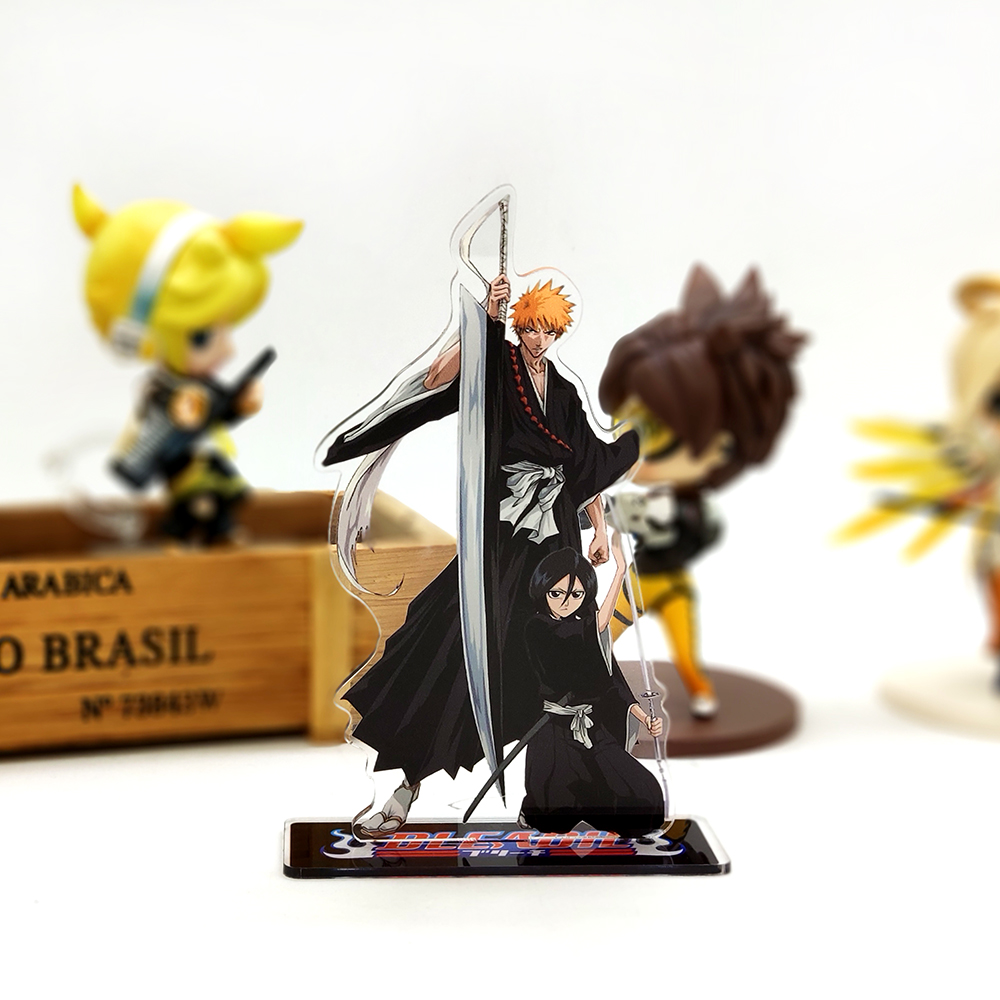 Love Thank You Bleach Kurosaki Ichigo Rukia Kuchiki Acrylic Stand Figure Model Plate Holder Cake Topper Anime Japanese Manga