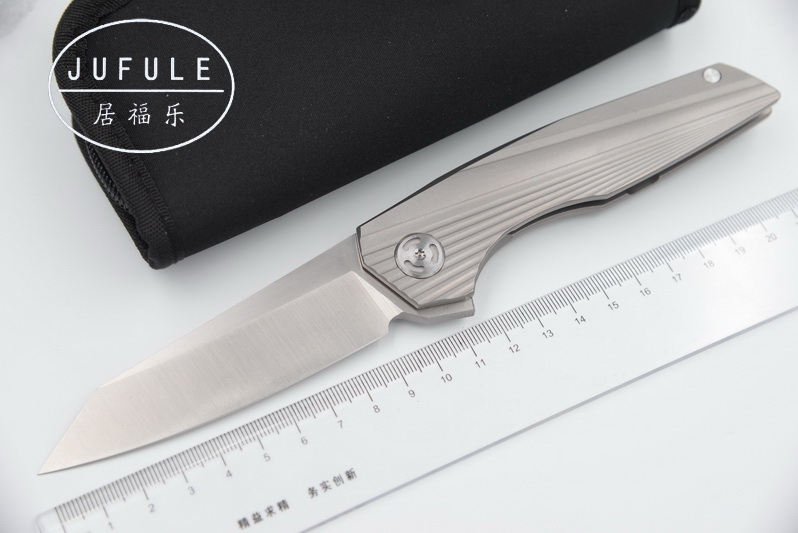 JUFULE OEM original design Horizon Flipper folding bearing D2 blade Titanium outdoor camping hunting pocket fruit knife EDC tool layered rhinestone ball sweater chain
