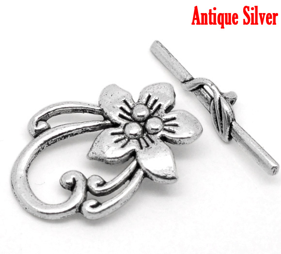 DoreenBeads 2Sets Funny  Tibetan Silver Color Flower Toggle Clasps 2015 New