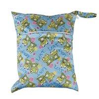 Baby Waterproof Zipper Reusable Cloth Diaper Bag Push Button Tote Frog Pattern