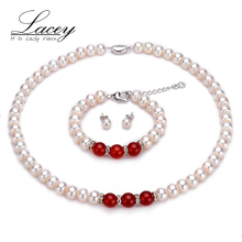 Classic real wedding pearl jewelry sets women,9-10mm natural white pearl necklace sets bracelet bridal fine jewelry mother gift недорого
