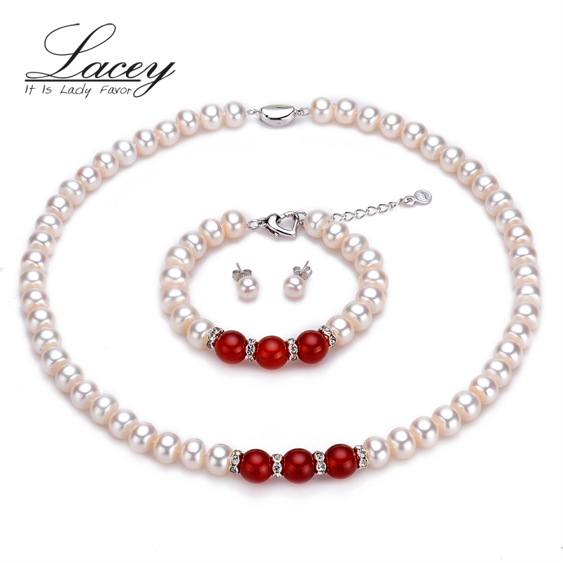 Ensembles de bijoux de perles de mariage véritable classique femmes, 9-10mm collier de perles blanches naturelles ensembles bracelet de mariée bijoux fins mère cadeau