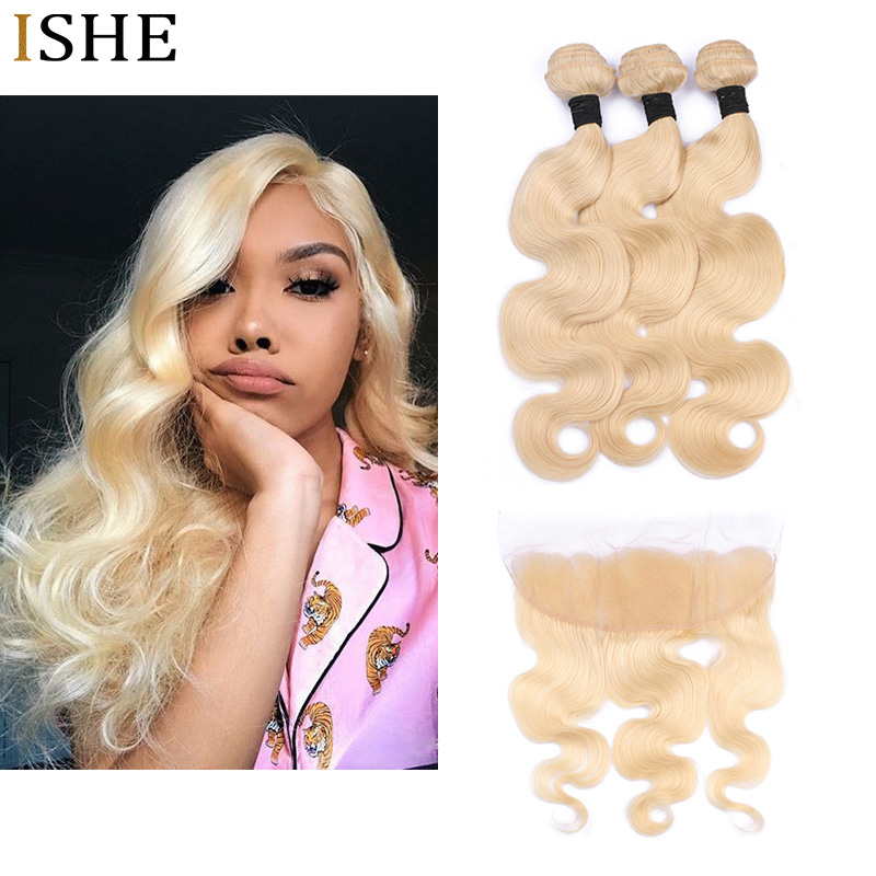 ISHE 613 блондинка комплект s с фронтальным бразильским объемным волном с фронтальным Remy светлые человеческие волосы кружева Фронтальная заст
