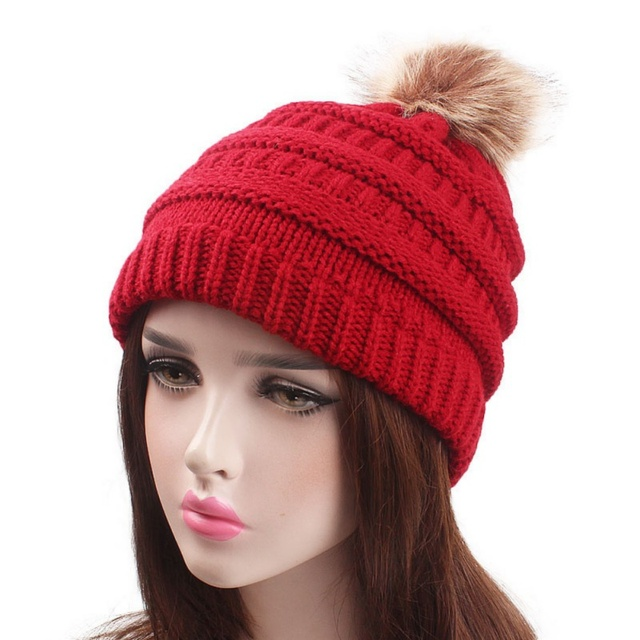 335611dee4d Faux Fur Pompom Hat Women Winter Cap Knitted Beanie Skullies Girls Fur Ball  Pom Pom Hats Red Grey Pink Black Bonnet Femme X2
