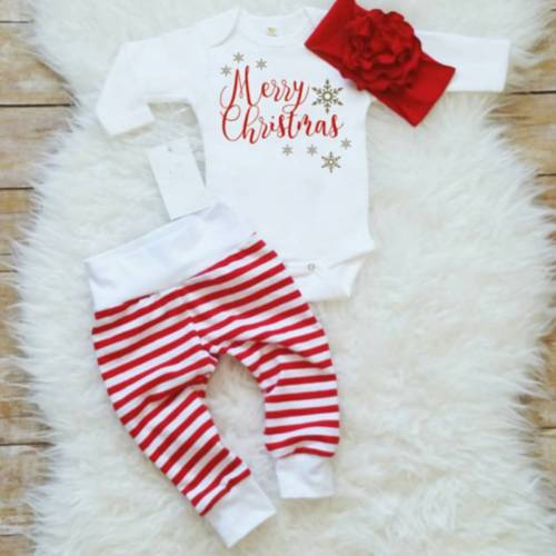 3PCS Newborn Baby Christmas T-Shirt Tops Romper Long Pants Outfits Clothes Set 3pcs baby girl lace tops t shirt floral short pant bottoms outfits set clothes wholesale
