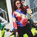 2017 Fashion Show New Cool Jacket Punk Ladies Gold Red Blue  Light Baseball Uniform Bomber Jacket Women Faux Leather Jackets
