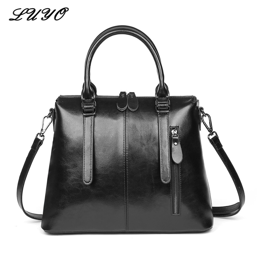 LUYO Brand Fashion Wax Oil Luxury Genuine Leather Briefcase Top handle Shoulder