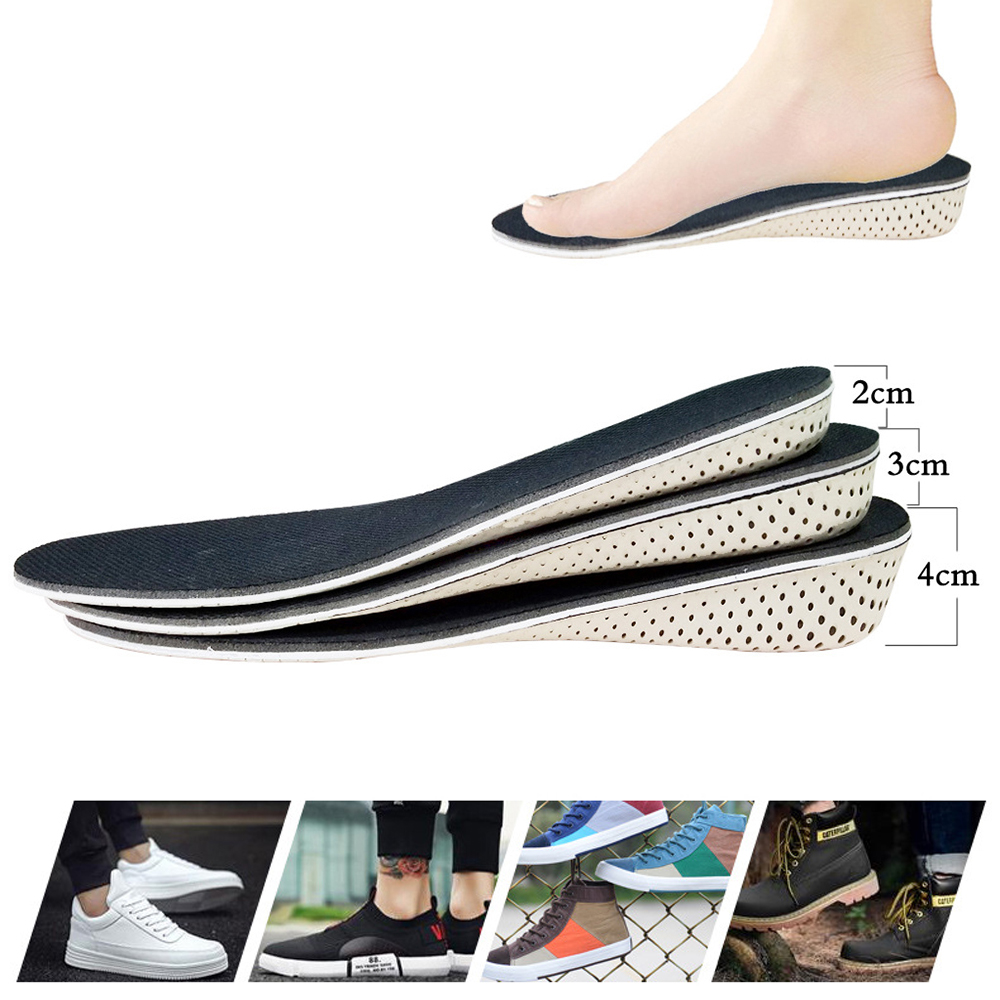 Unisex Height Increase Insole Lightweight Breathable Eva 4.0cm Height Increase Elevator Heel Lifts Shoe Insole Inserts Pad