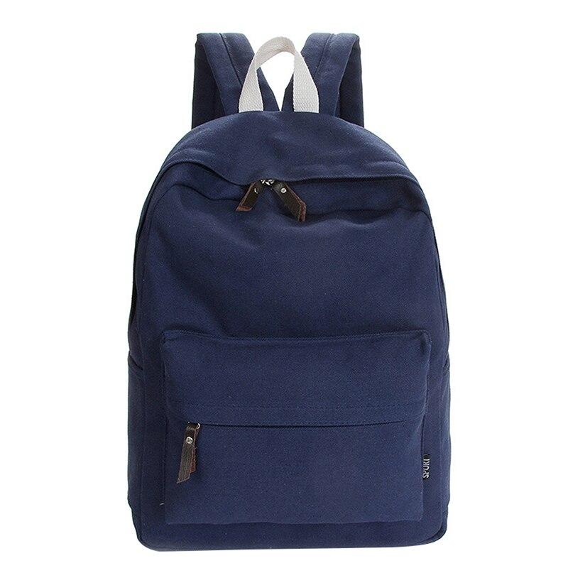 Casual Canvas Backpack Fashion School Bag For Girls And Boys Unisex Backpack Shoulder Bag, Dark Blue
