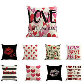 Fashion Cushion Cover Love Linen Throw Pillow Case Home Valentine's Day Decor image