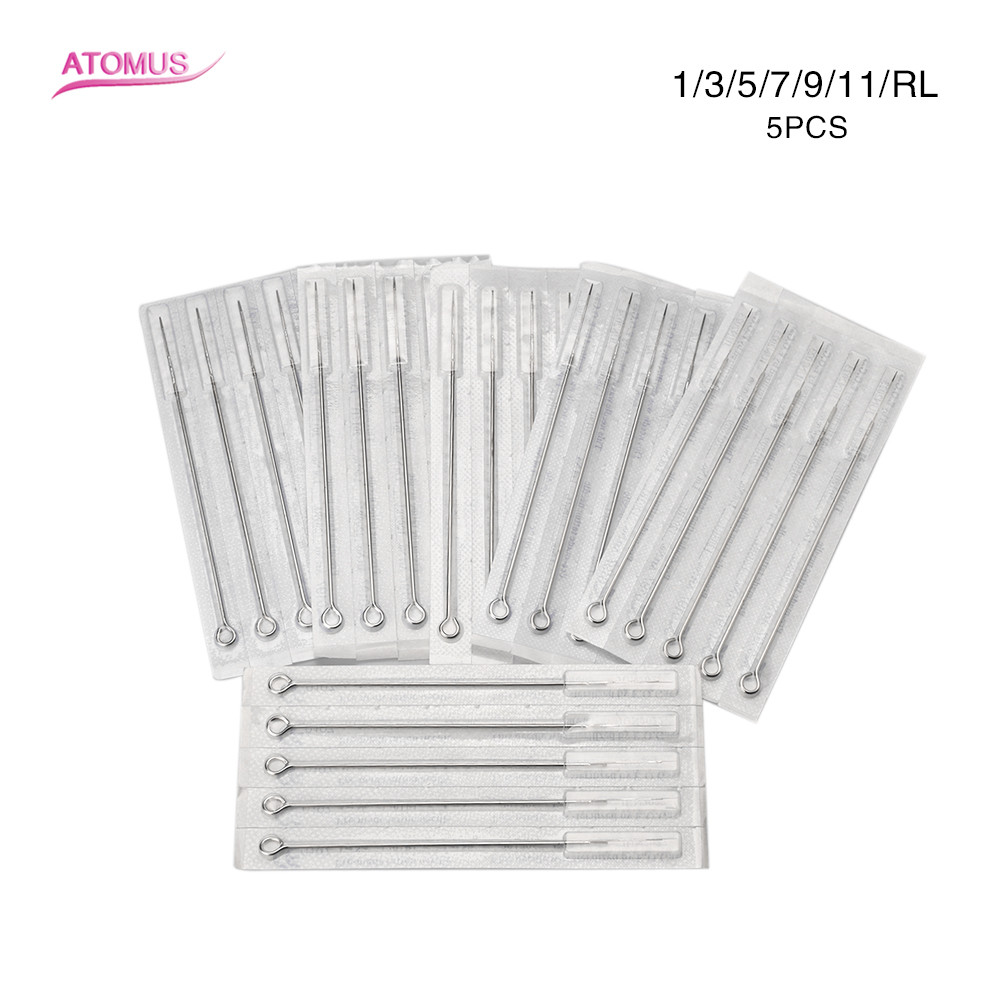 ATOMUS 5pcs Assorted Sterilized Tattoo Needles 1/3/5/7/9/11RL Agujas Microblading Naalden Permanent Makeup Free Shipping