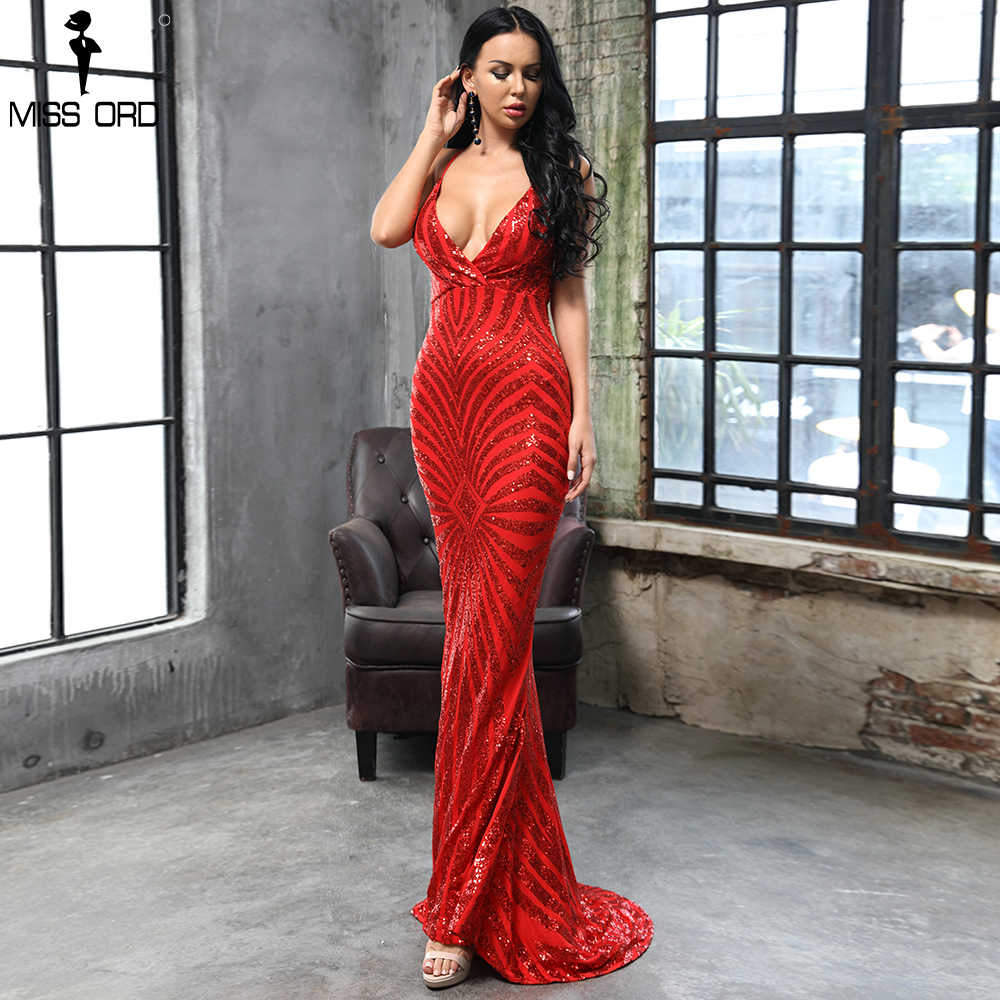4e9a0ffe Missord 2019 RED DEEP v neck Elegant Striped Backless Women Dresses Sequin  Bodycon Maxi Party Dress