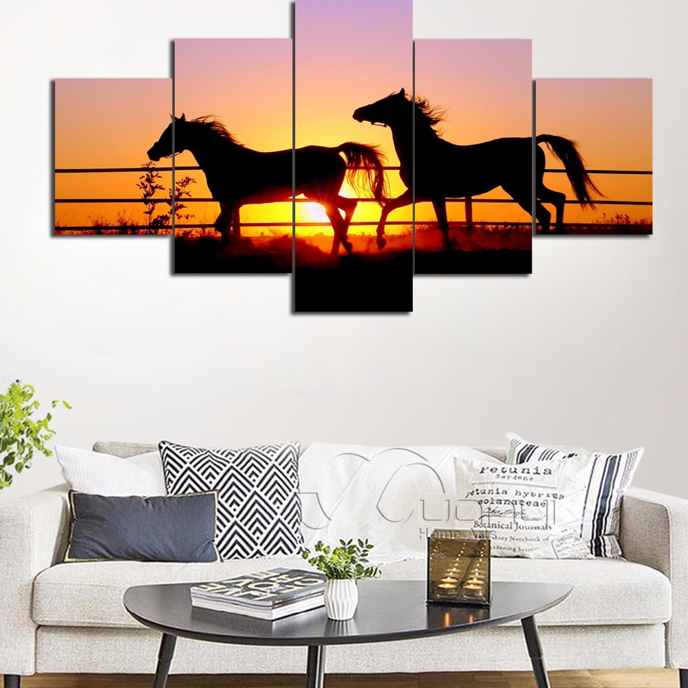 Home Decoration Living Room Wall Art Modular Pictures 5 Panel Sunset Animal Horses Framed HD Printed Modern Canvas Painting