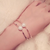 Fashion New Brand Design Elegant Simulated Pearl Bracelet Statement Real Gold Plated Chains Bangle Low Price