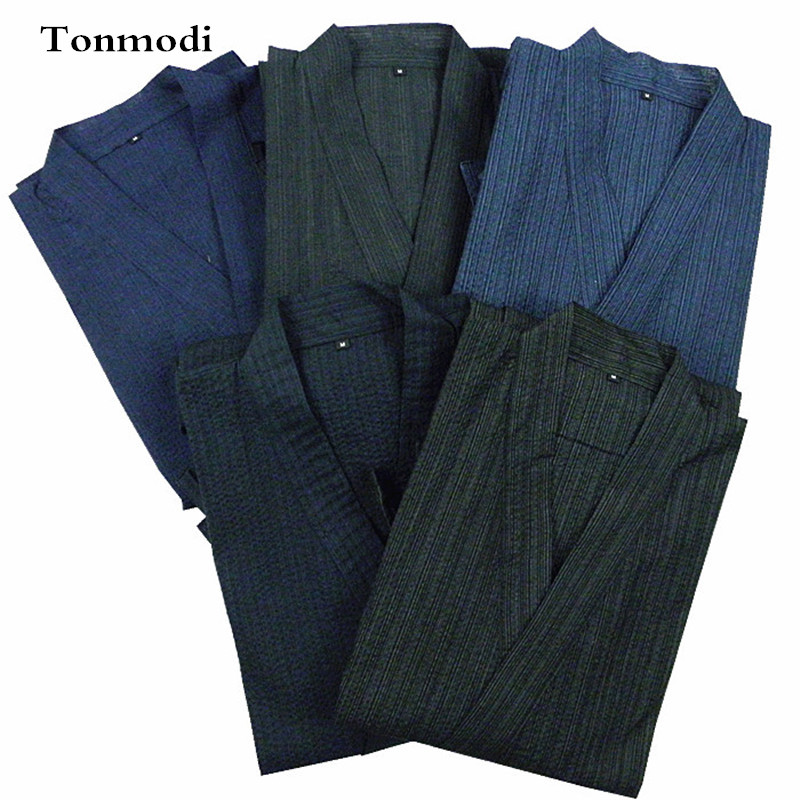 Underwear & Sleepwears Kimono Pajamas For Men 100% Cotton Cloth Kimono Stripe Robe Short-sleeve Half Pants Pyjamas Men Lounge Pajama Set Men's Sleep & Lounge