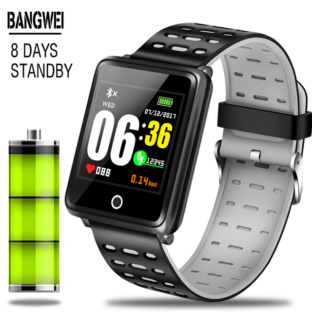 BANGWI 2019 New Smart Sport Watch Men Fitness Tracker Pedometer Blood Pressure Heart Rate Monitor Waterproof Smart Watch Relogio
