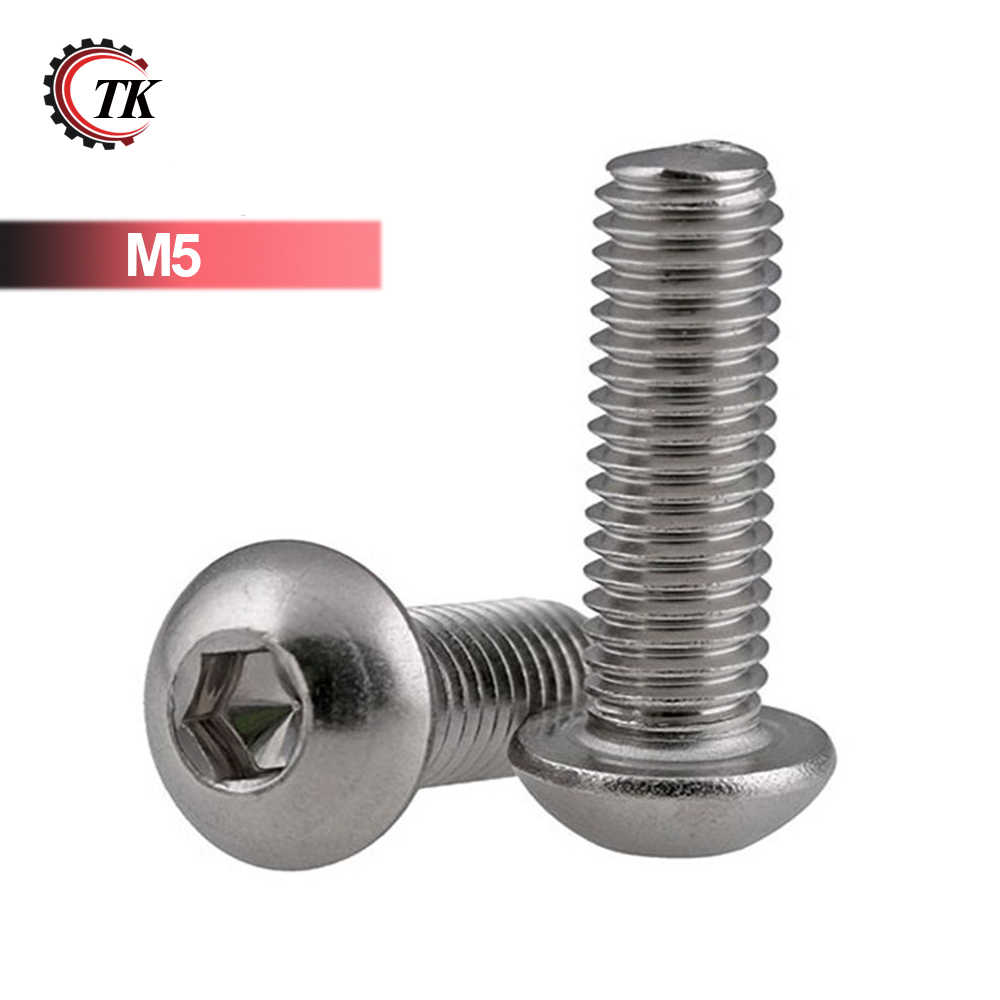 100pcs Stainless Steel Round Head Screw M5 Stainless Steel Mushroom Pan Head Hex Screw M5