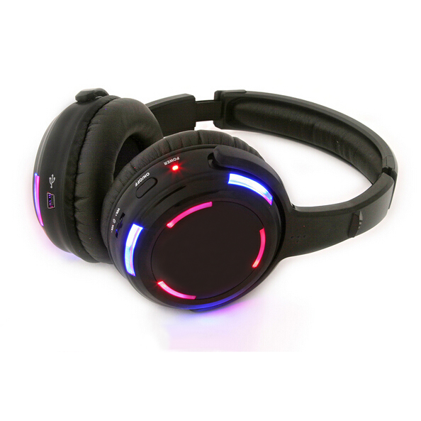 free shipping Universal dynamic headset DJ silent disco stereo wireless headphone with Led flashing