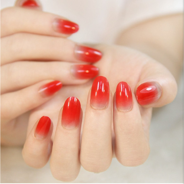 fake nails long red color artificial nails acrylic round shape ...