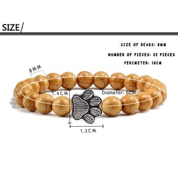 Natural Matte Black Lava Volcanic Stone Paw Print Charm Bracelet Homme Femme Pet Memorial Cat Dog Lovers Jewelry Bracelets Gifts 5