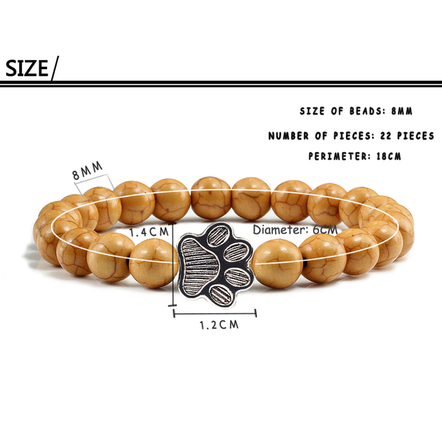 Natural Matte Black Lava Volcanic Stone Paw Print Charm Bracelet Homme Femme Pet Memorial Cat Dog