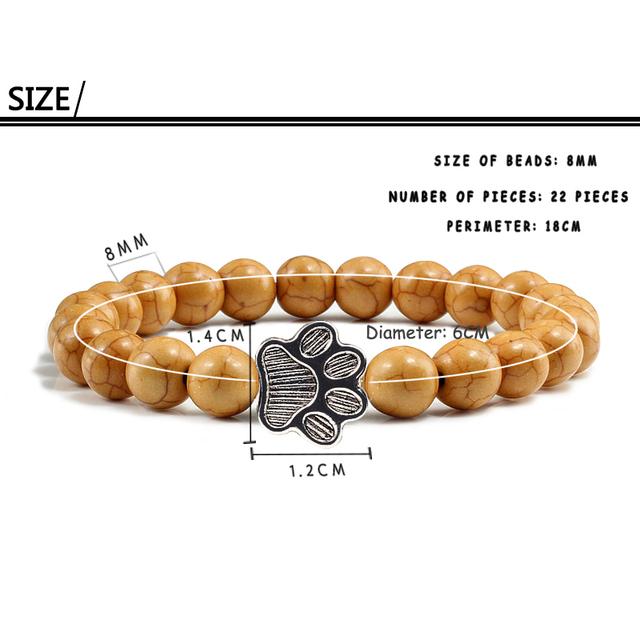 Charm Beaded Paw Patterned Bracelet