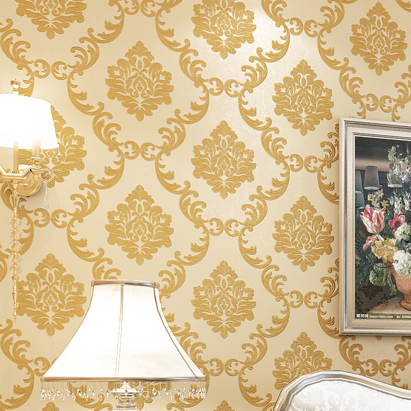 European Style 3D Damascus Wallpaper Luxury Golden Floral Living Room Bedroom TV Background Damask Wallpaper For Walls Roll 2015 new brand 5m roll victorian country style for floral flowers background wallpaper