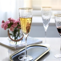 KINGLANG Japanese style high quality Phnom Penh Hammered Glass Wine Glass Large Red Wine Glass cup