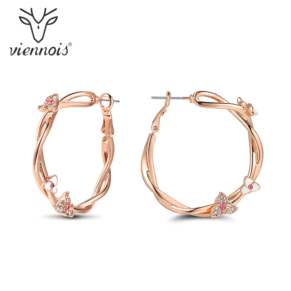 Viennois Rose Gold Color Flower Hoop Earrings For women Pink Rhinestone Large Twisted Circle Earrings Fashion Jewelry 24v 12v red blue led boat switch panel switches waterproof car cigarette lighter socket rv yacht marine boating accessories