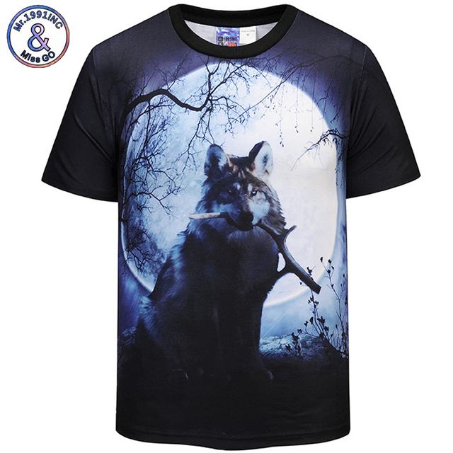f8f05e76791 Mr.1991INC 2018 New Hot Men Women t shirt Short Sleeve Summer 3D Moon and  Wolf Digital printing Tops Tees S-3XL