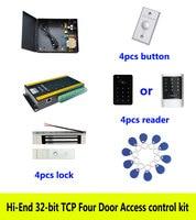 Hi end 32 Бит Комплект контроля доступа, TCP четыре двери + мощность 180 кг магнитный замок + ID сенсорной клавиатурой Reader + кнопка + 10 ID теги, sn: kit at403