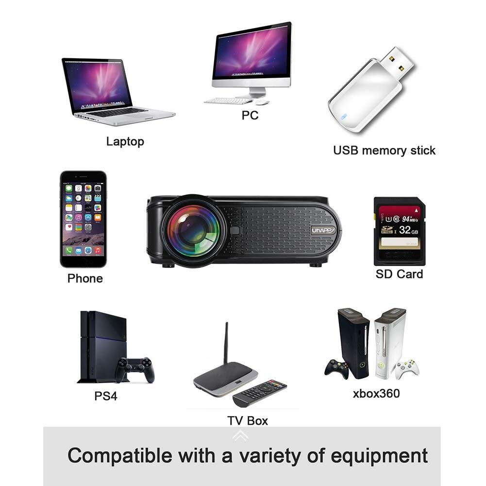 UE Plug LCD Projecteur Full HD 1080 P Home Cinéma Cinéma HDMI VGA USB LED Projecteurs pour Vidéo Media Player 8 @ 88 DJA99