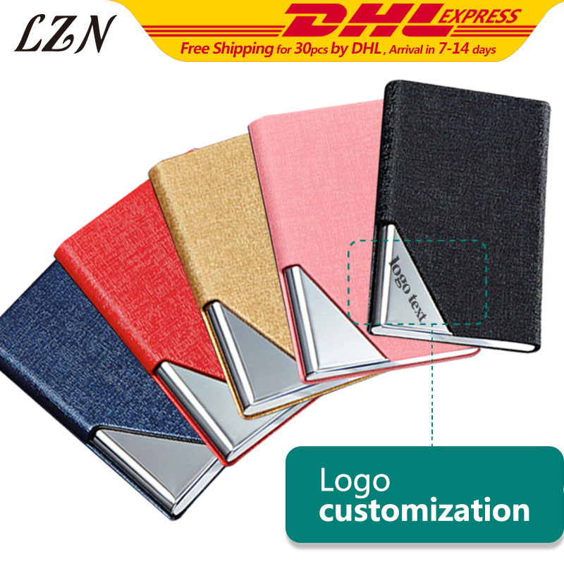 LZN New Black PU Leather&Stainless Steel Business Name Card Case Holder Free Engraved Company Name/Logo/Text For Promotion