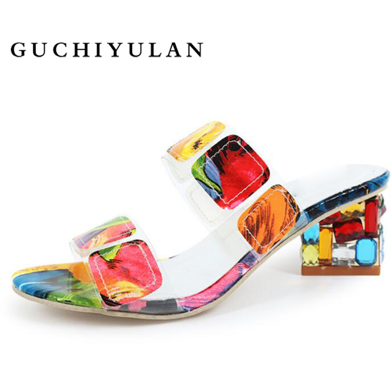 GUCHIYULAN Fashion Women Sandals Ladies Summer beach Slippers Shoes Women high Heels Sandals Fashion Rhinestone summer shoes new led zeppelin mothership 4 lp