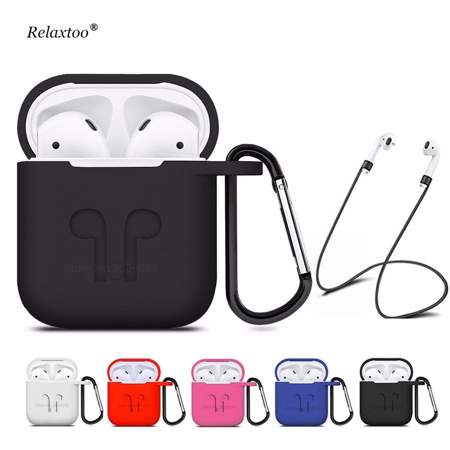 Soft Silicone Cover For Apple Airpods Waterproof Shockproof Protector Case Sleeve Pouch For Air Pods Earphone With Hook цена