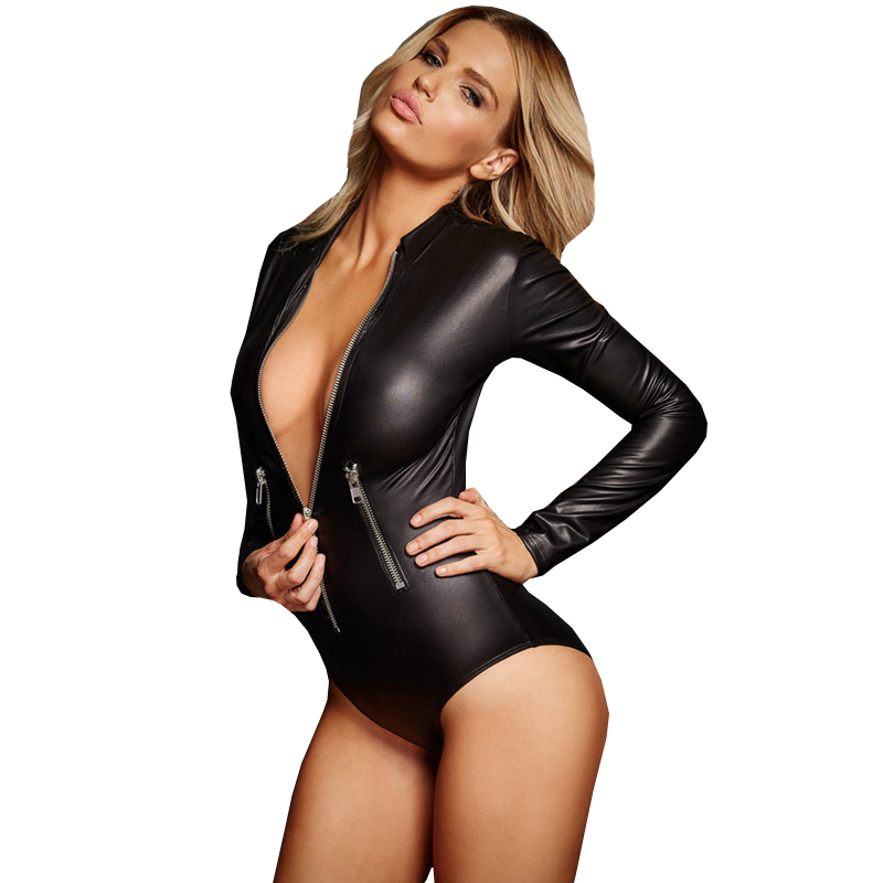 Fgirl Bodysuits Women Romper Black Leathery Long Sleeve -2664