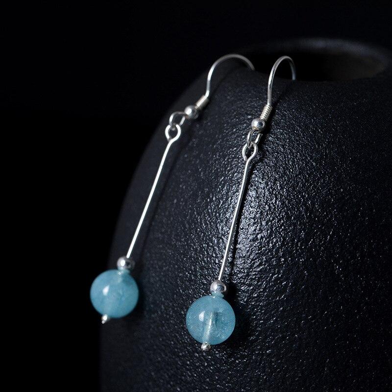 LouLeur 925 sterling silver Aquamarine earrings handmade DIY natural Aquamarine rose quartz drop earrings for women jewelry gift