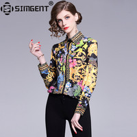 6cd9651477 Simgent Women Tops 2019 Sprint Summer Fashion Elegant Floral Print Blouses  Long Sleeve Chiffon Casual Office