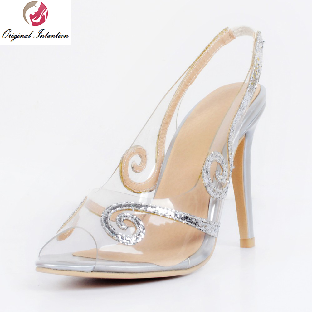 ФОТО Original Intention New Gorgeous Women Pumps Beautiful Peep Toe Thin Heels Pumps Nice Silver Shoes Woman Plus US Size 4-15