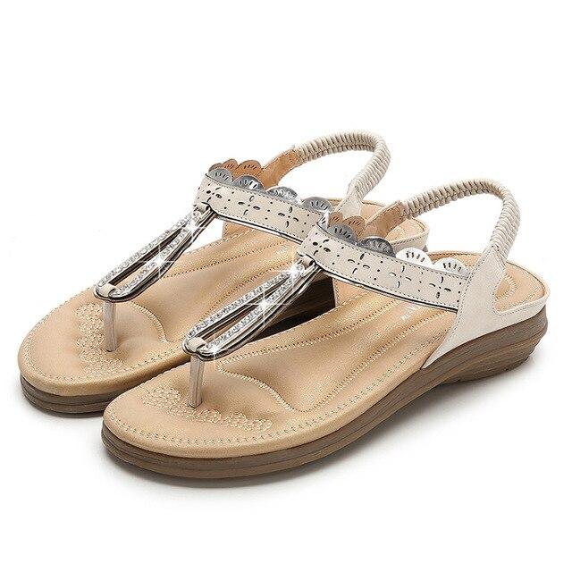 Cómodos Pisos Zapatos Señora Cuero La Agua Mujeres Las Sandalias Moda Étnico Redonda Viento De Bohemia Cabeza Gladiador Taladro yO8w0vmNnP