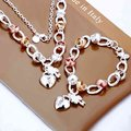 Fashion 925 Sterling Silver Jewelry Sets Rose Golden Circle Heart Lock Key Silver Necklace, Silver Bracelets S010
