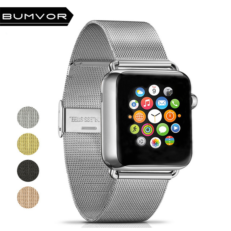 BUMVOR Milanese Loop Stainless Steel Watchband for Apple Watch Series 4/3/2/1 Double Buckle 44/40/42/38MM Strap For iwatch Band все цены
