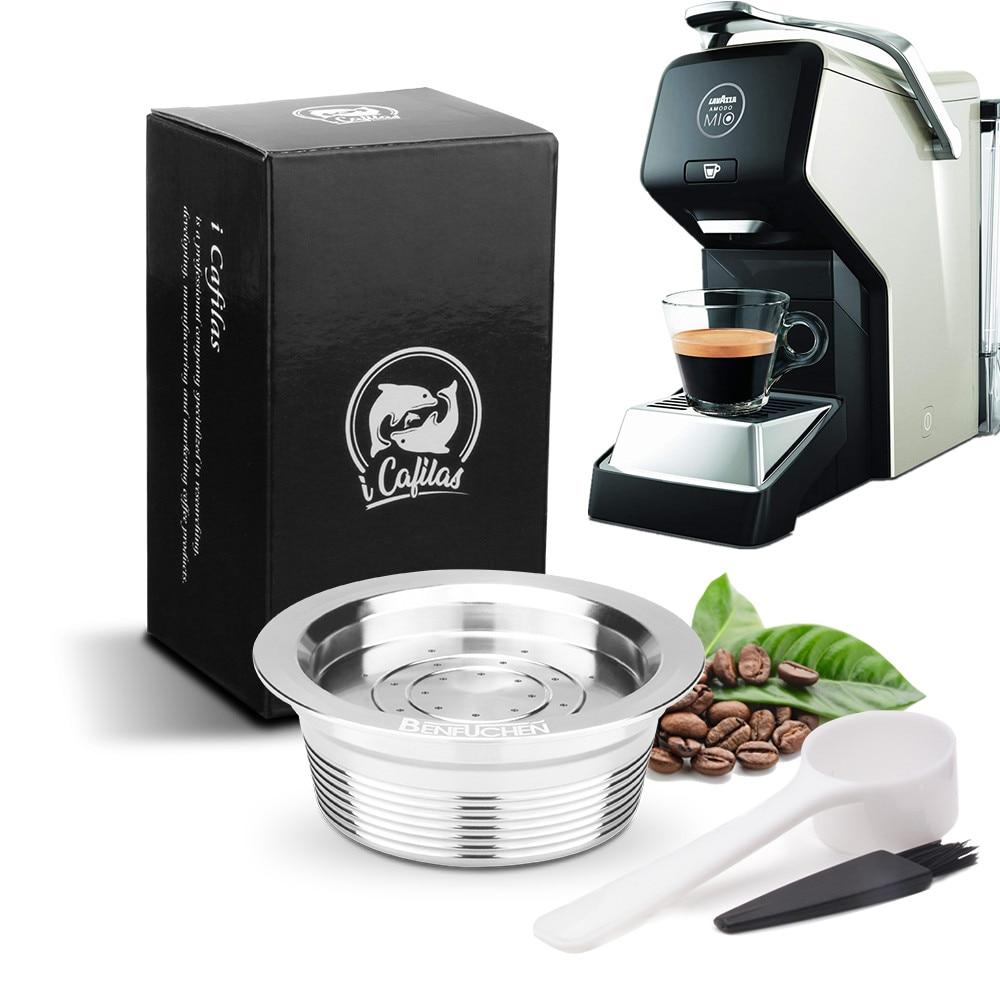 Filtros de café para Lavazza A Modo Mio, máquina rellenable, reutilizable, de acero inoxidable, cápsula de café, cuchara Tamper