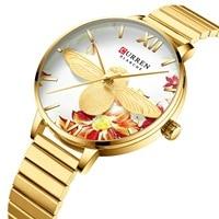 Women Bee Flower Watches CURREN Gold Fashion Classy Quartz Stainless Steel Leather Strap Watch Ladies Relogios Feminino Clock