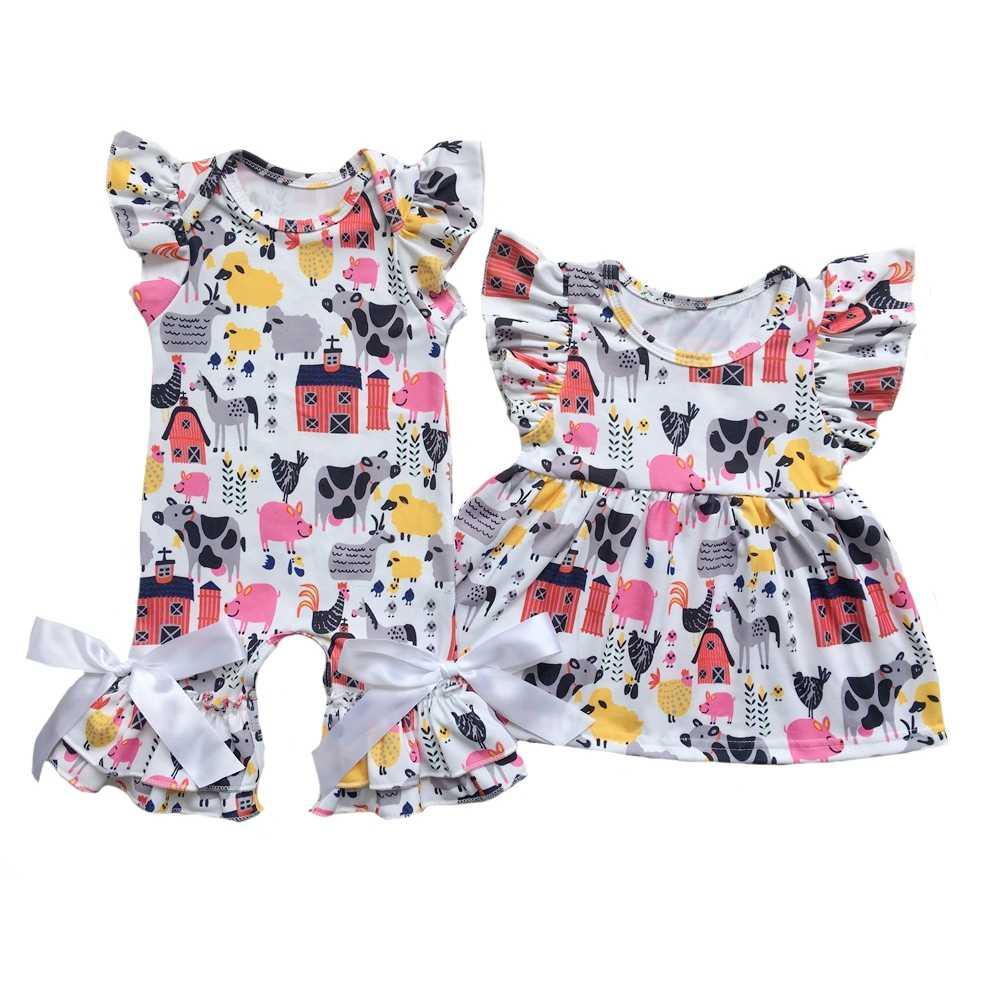 c232908e3de Farming Pig Horse Chicken Cow Sheep Girls Boys Flutter Romper Shirts Baby  Sleeper Clothes