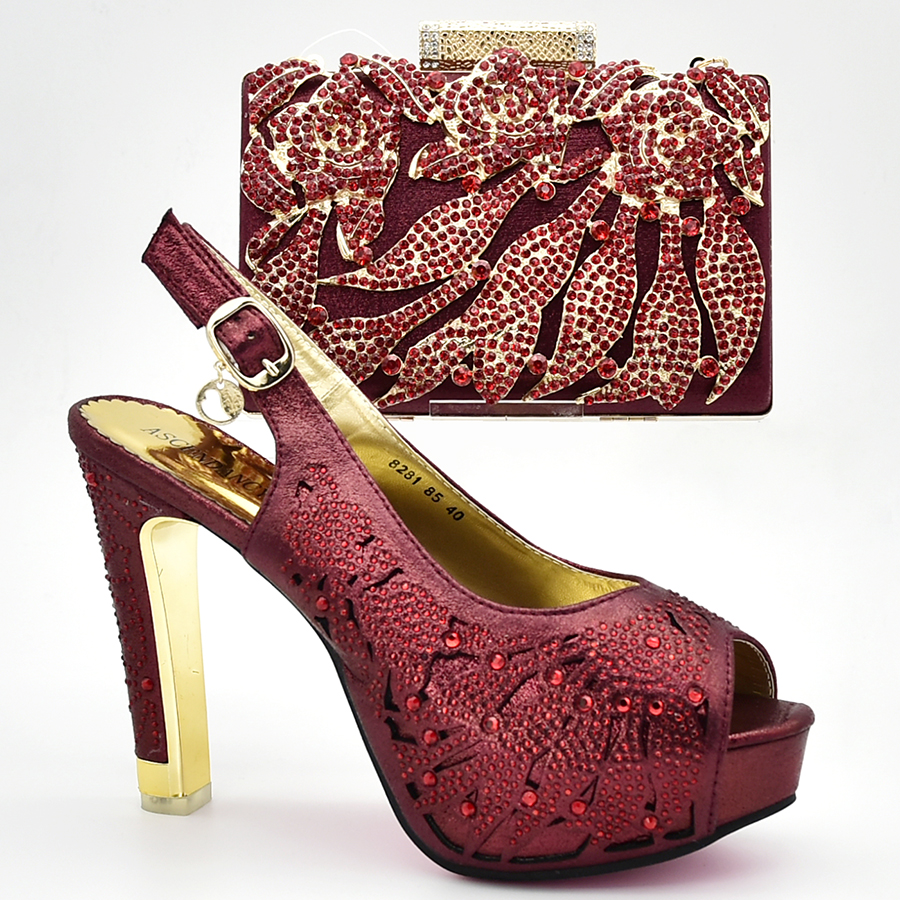 New Arrival Wine Italian Pumps Shoes And Bags To Match Hot Sale Summer Party Shoes And Bag Set Free Shipping цена