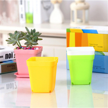 10PCS Gardening Mini Plastic Flower Pots+Plastic Tray Vase Square Bonsai Planter Nursery Pots Garden Supplies
